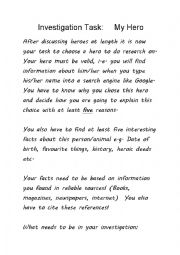 English Worksheet: Investigation Task - My Hero