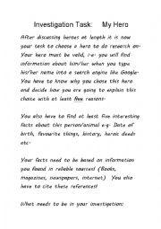 English Worksheet: Investigation Task - My Hero