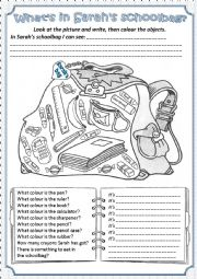 English Worksheet: What�s in the Sarah�s schoolbag?