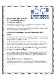 English Worksheet: The Dangers of Facebook