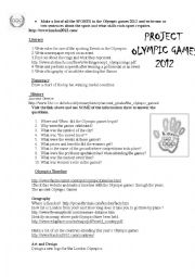 English Worksheet: project OLYMPIC GAMES LONDON 2012