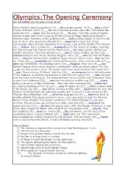 English Worksheet: Olympics:The Opening Ceremony