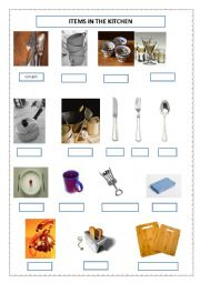 English Worksheet: Items in the living room and kitchen