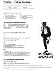 English Worksheet: Michael Jackson- Thriller