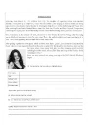 English Worksheet: Norah Jones Biography