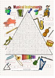 English Worksheet: Musical Instruments - Wordsearch