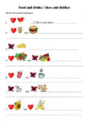 English Worksheet: food and drinks/ likes and dislikes