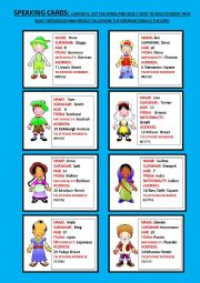 English Worksheet: speaking cards part 1