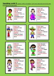 English Worksheet: Speaking cards part 2