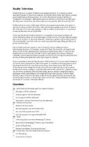 English Worksheet: Reality Television