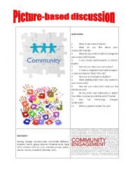 English Worksheet: Picture-based discussion community