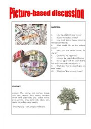 English Worksheet: Picture-based discussion cash
