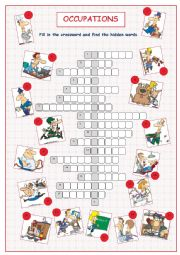 English Worksheet: Occupations Crossword Puzzle