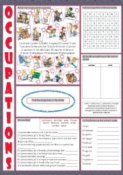 English Worksheet: Occupations Vocabulary Exercises