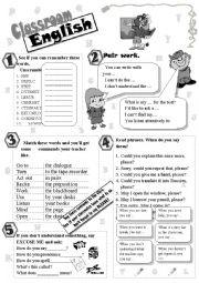 English Worksheet: Classroom language