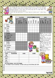 English Worksheet: Logic game (53rd) - Housework *** with key *** fully editable *** BW