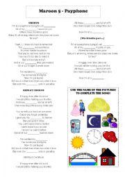 English Worksheet: Song: Maroon 5 - Payphone