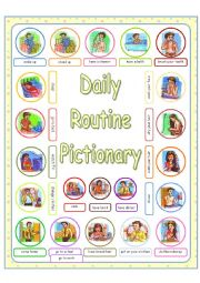 English Worksheet: Daily Routine - Daily Activities PICTIONARY