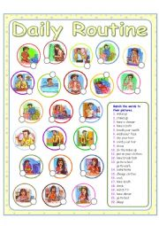 English Worksheet: Daily Routine - Daily Activities