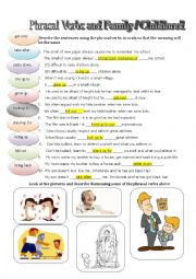 English Worksheet: Part I. Phrasal verbs - talking about family / childhood