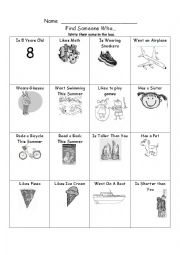 English Worksheet: Find Someone Who with pictures