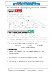 English Worksheet: Webquest European Day of Languages