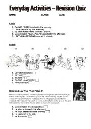 English Worksheet: Everyday Activities - Revision Quiz