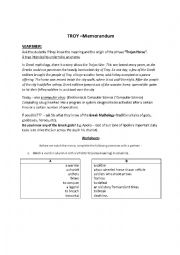 English Worksheet: Troy movie lesson MEMO / ANSWER KEY