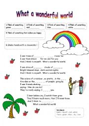 English Worksheet: What a wonderful world - song