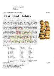 English Worksheet: Fast Food Habits Test