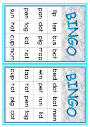 English Worksheet: Cvc Words Bingo 2