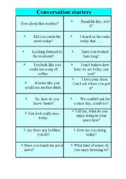 English Worksheet: Conversation starters
