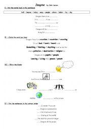 English Worksheet: Imagine by John Lennon (for English teachers in France)