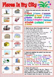 English Worksheet: Places in my city