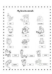 English worksheets: my favorite animals