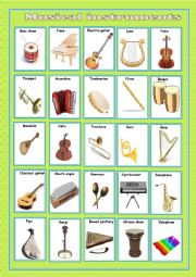 English Worksheet: Musical instruments