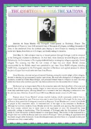 English Worksheet: ARISTIDES DE SOUSA MENDES - THE MAN WHO SAVED THOUSANDS OF REFUGEES DURING WWII- HUMAN RIGHTS