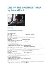 English Worksheet: One of the brightest star by James Blunt
