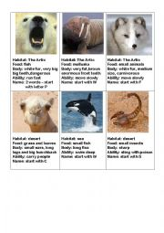 English Worksheet: Animals card guessing game part 1