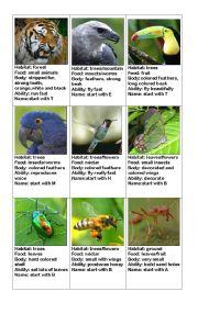 English Worksheet: animals card game part 2