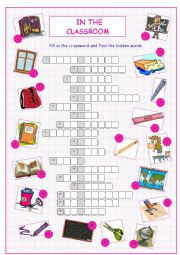 English Worksheet: In the Classroom Crossword Puzzle