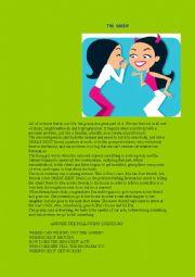 English Worksheet: the gossip, reading comprehension