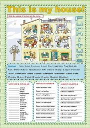English Worksheet: FURNITURE IN MY HOUSE!!  / THERE IS... THERE ARE...