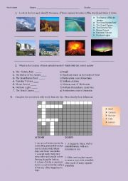 English Worksheet: The Seven Natural Wonders of the World