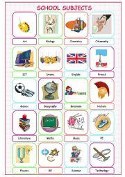 English Worksheet: School Subjects