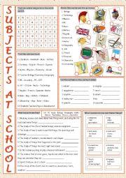 English Worksheet: School Subjects Vocabulary Exercises