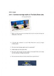 English Worksheet: Common Myths on Marriage (CBS) + KEY!