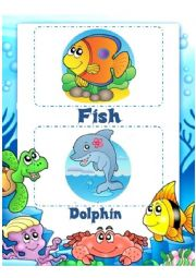 English Worksheet: Under the sea flash cards (combined)