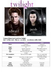 English Worksheet: Twilight heroes: compare them!