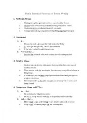 english worksheets useful sentence patterns for better writing. Black Bedroom Furniture Sets. Home Design Ideas